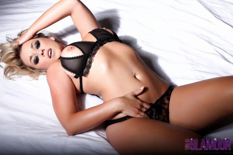 Hot blonde in erotic black lingerie